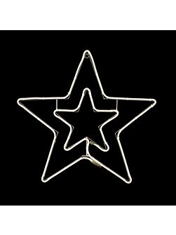 White neon flex double star 75cmx75cm