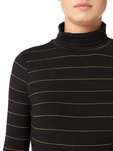 Biba Metallic stripe roll neck