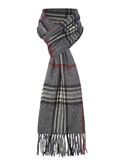 Wool and cashmere check scarf