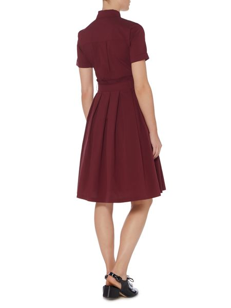 Lost Ink Short Sleeved Shirt Dress with Tie Waist
