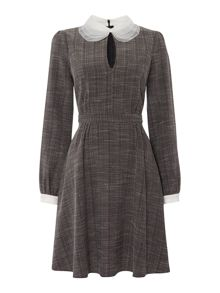 Lost Ink Long Sleeved Collared Fit and Flare Dress