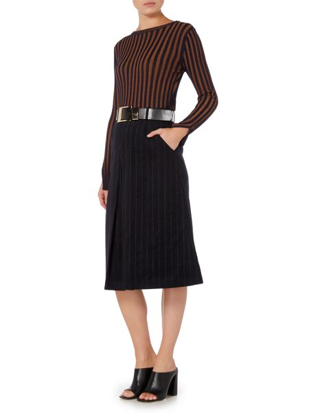 Lost Ink Pinstripe Belted Midi Skirt
