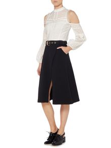 Lost Ink Belted Wrap Around Skirt