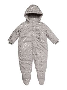 name it Baby Girl Hooded Heart Print Snowsuit