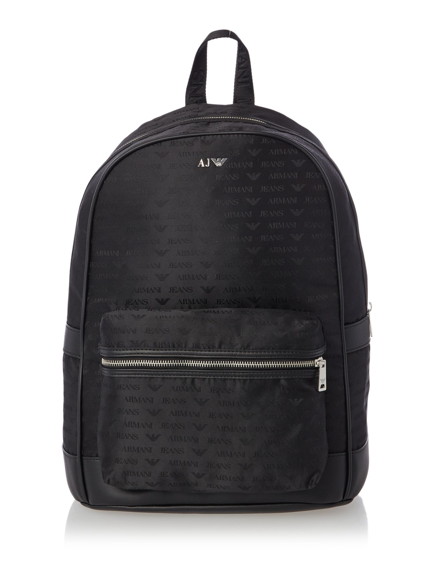 Armani Jeans All Over Logo Jacquard Poly Backpack Black