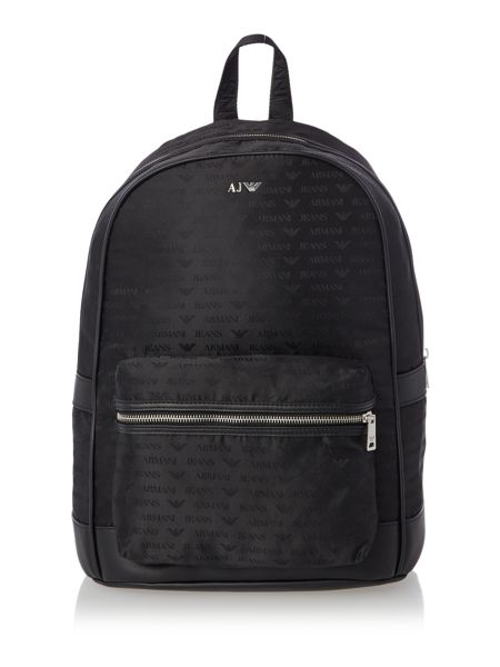 Armani Jeans All Over Logo Jacquard Poly Backpack