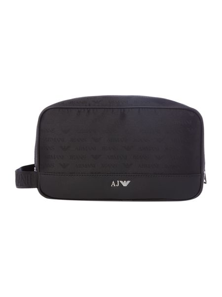 Armani Jeans All Over Logo Jacquard Poly Washbag