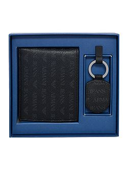 All Over Logo Armani Wallet And Keyring Set