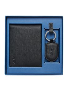 Armani Jeans Leather Wallet And Keyring Set