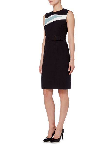Hugo Boss Didina Textured Print Belted Shift Dress