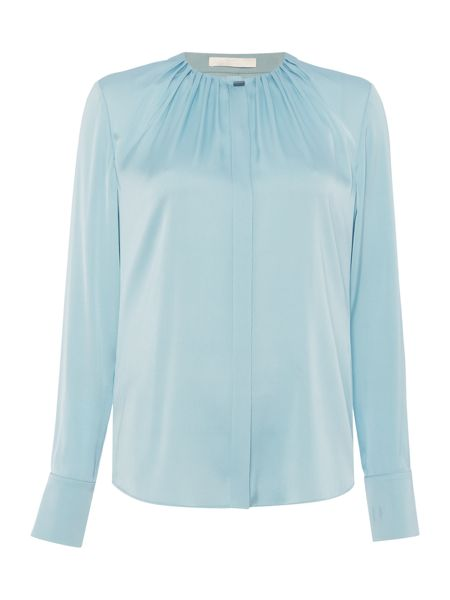 Hugo Boss Banora5 Silk Stretch Gather Neck Shirt