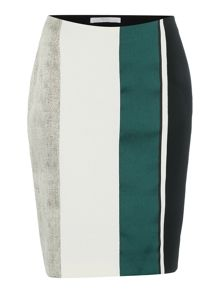 Hugo Boss Vastrina Patchwork Stripe Pencil Skirt