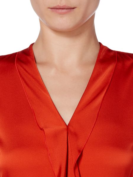 Hugo Boss Ikarsi Ruffle Detail V Neck Silk Top