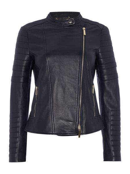 Hugo Boss Sahena Offset Zip Leather Biker Jacket
