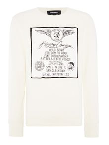 Diesel S-Joe-ag rubber slogan print sweat top
