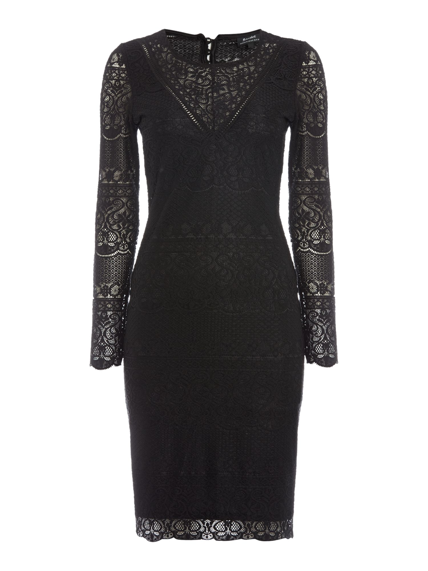 Bardot Long Sleeved Lace Applique Bodycon Dress, Black