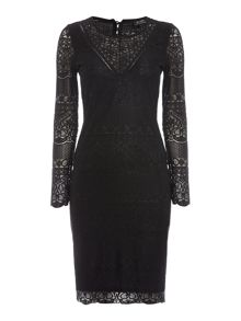 Bardot Long Sleeved Lace Applique Bodycon Dress