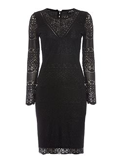 Long Sleeved Lace Applique Bodycon Dress