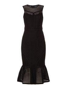 Bardot Sleeveless Textured Thick Peplum Dress