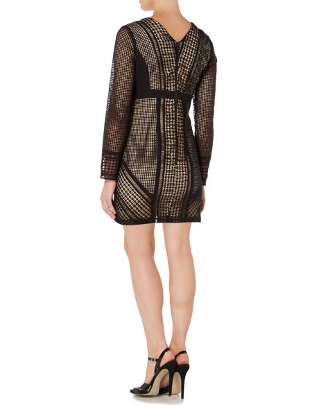 Bardot Long Sleeved Deep V Lace Applique Dress