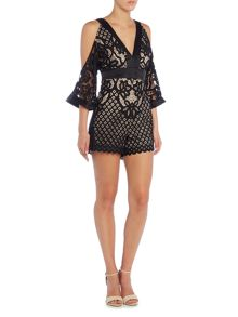 Bardot Long Sleeved Deep V Cold Shoulder Playsuit