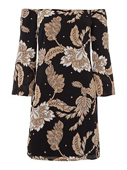 Off Shoulder Wide Sleeve Printed Tunic Dress