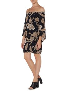 Bardot Off Shoulder Wide Sleeve Printed Tunic Dress