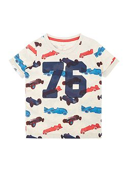 Boys Shortsleeve Stripe Car Motif T-Shirt