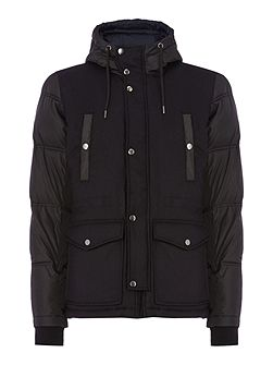 W-Unresty padded sleeve hoodied jacket