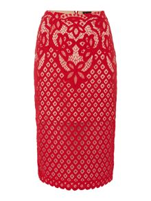 Bardot Embroidered Lace Midi Skirt