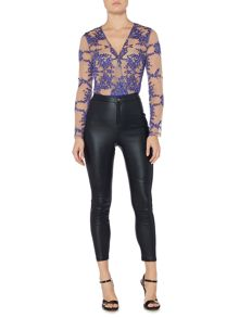 Bardot Textured Coated Suede Skinny Trousers