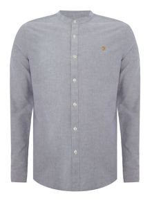 Farah Brewer slim fit grandad collar oxford logo shirt