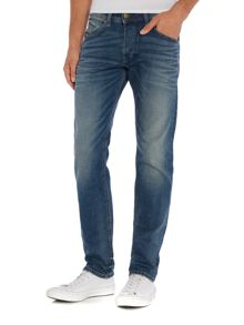 Diesel Belthar 857N slim tapered stretch mid wash jeans