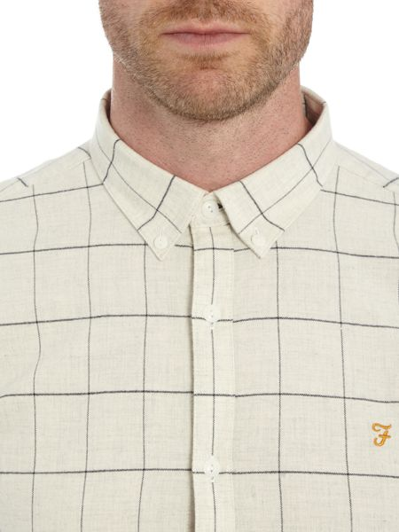 Farah Hayle slim fit fine grid check shirt