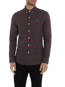 Farah Umber slim fit flannel check shirt