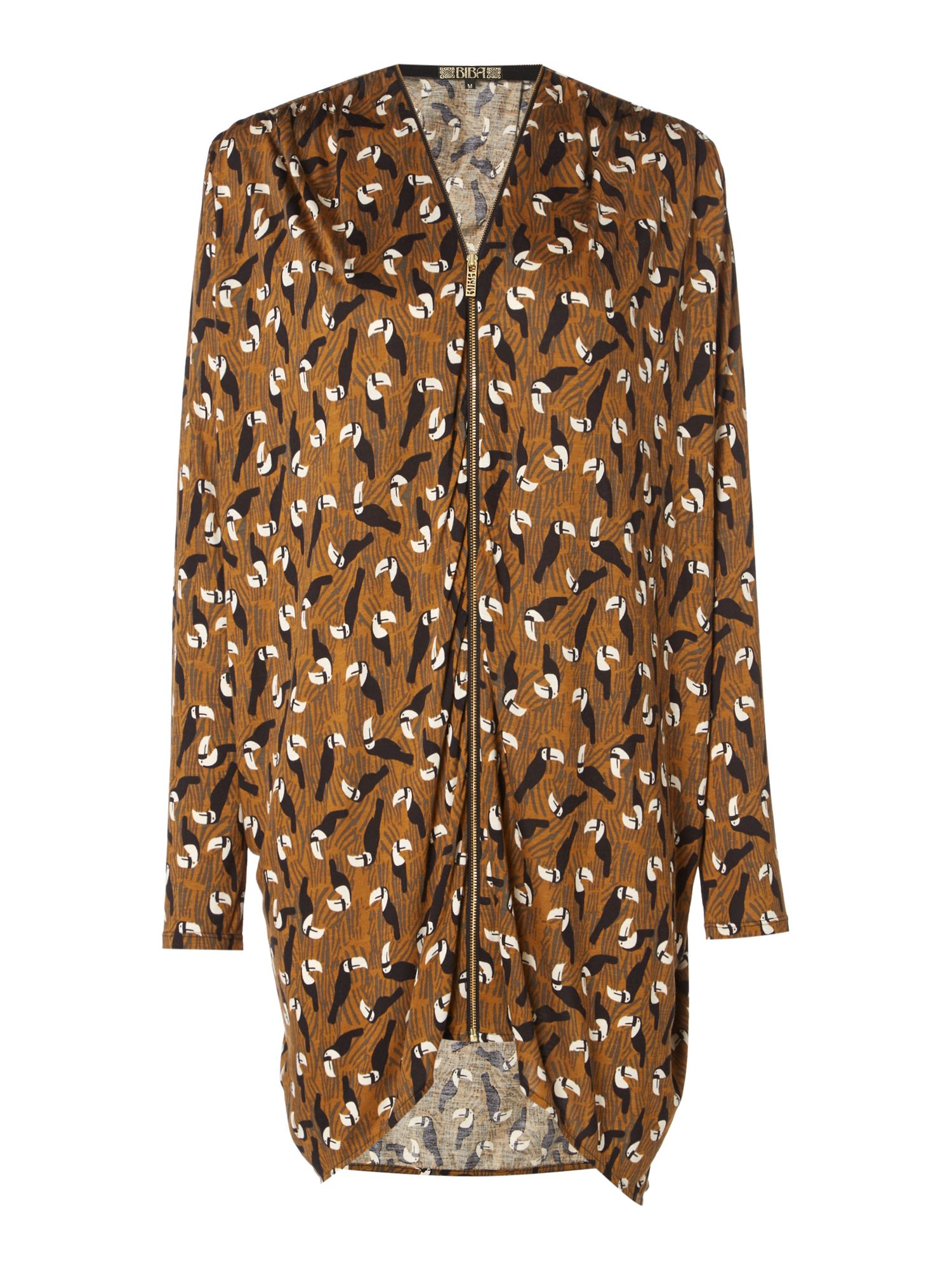 Biba Biba Toucan printed zip up tunic, Multi-Coloured