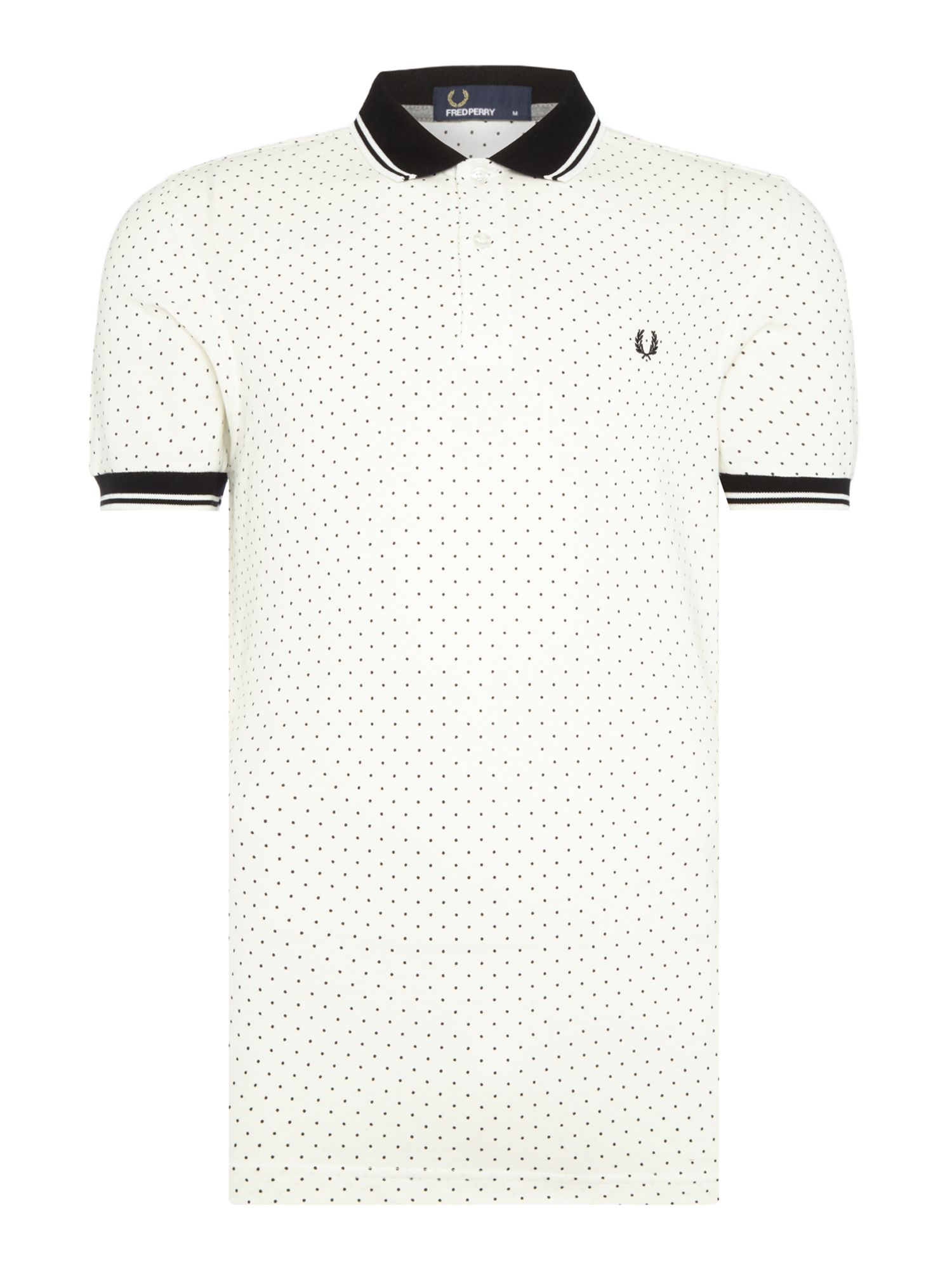 Mens Fred Perry Polka dot short sleeve pique polo shirt White
