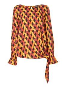 Biba Knot waist printed long sleeve blouse