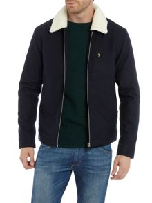Farah Otley shearling collar wool harrington jacket