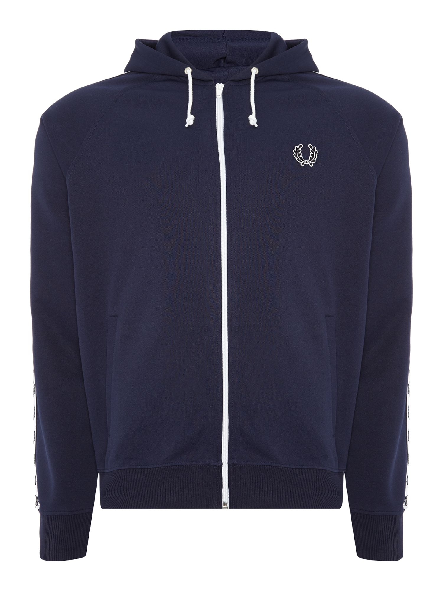 Mens Fred Perry Taped hooded track jacket Navy