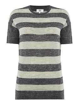 Wool blend pullover with short sleeve