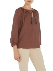 Noa Noa Jacquard blouse with 3/4 sleeve