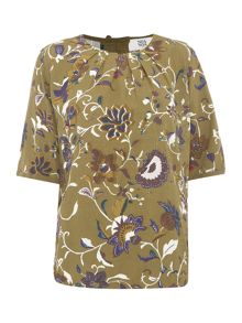 Noa Noa Blouse with short sleeve and retro flower pattern