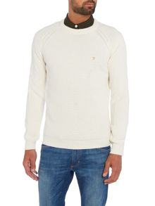 Farah Islington textured crew neck jumper