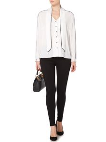 Biba Simple tie neck contrast blouse
