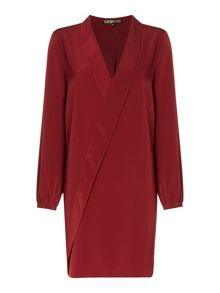 Biba Ruffle front collar detail plain dress
