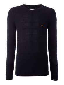 Farah Hewlett textured stripe crew neck jumper