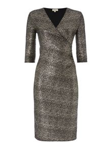 Linea Glitter wrap front dress