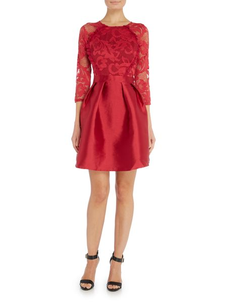 Little Mistress Long Sleeved Lace Top Fit and Flare Dress