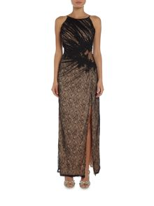 Little Mistress Halter Neck Mesh Side Split Maxi Dress